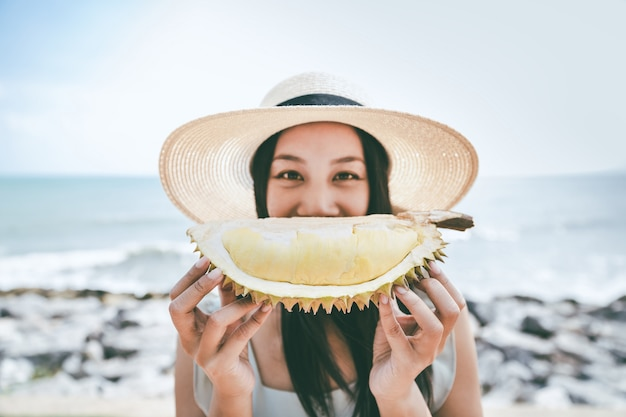 Woman with durian