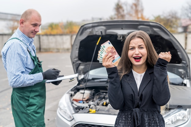 Woman with euro upset by the price of car service