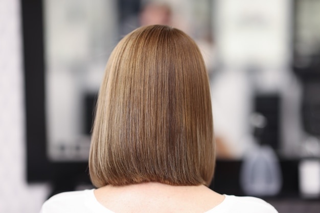 Woman with even and smooth hair sit in beauty salon, back view.