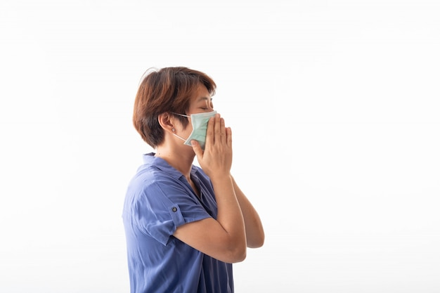 Woman with face mask for coronavirus prevention
