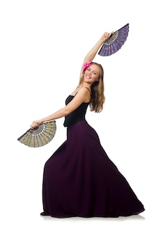 Woman with fan dancing dances isolated
