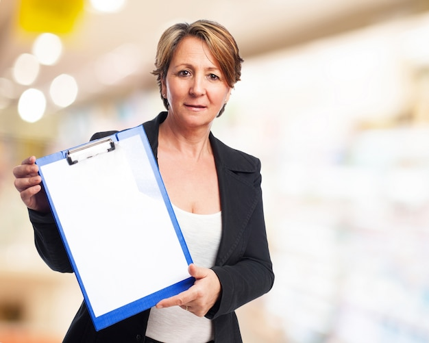 Woman with a folder with clip