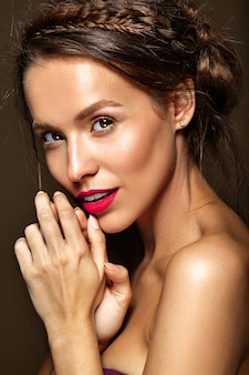 Woman with fresh daily makeup and red lips