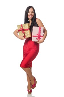 Giftboxes 흰색 절연을 가진 여자