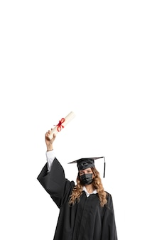 Woman with graduation diploma