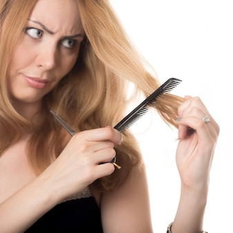Woman with a hair comb