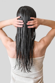 Woman with hair washed