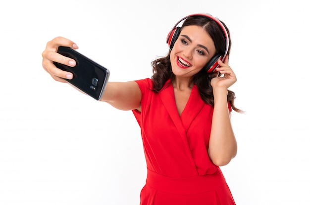 Woman with headphone and phone. digital gadget. listening music. girl model.