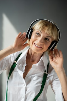 Woman with headphones medium shot