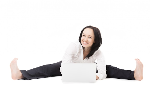 Woman with her open legs and smiling