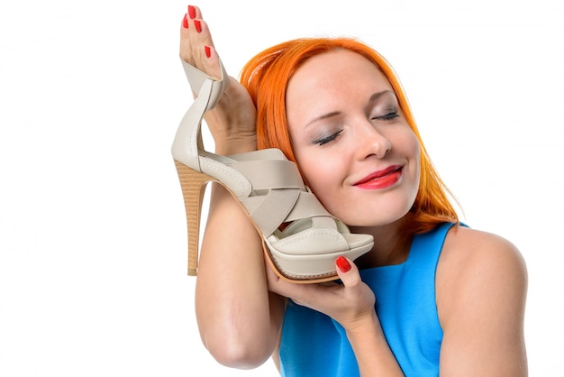 Woman with high heel shoe