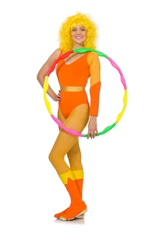 Woman with hula hoop isolated