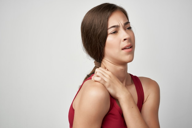Woman with joint pain health dissatisfaction stress