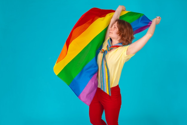 Woman with  lgbt flag