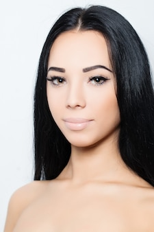 Woman with long hair and makeup