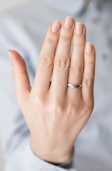 Woman with marriage ring