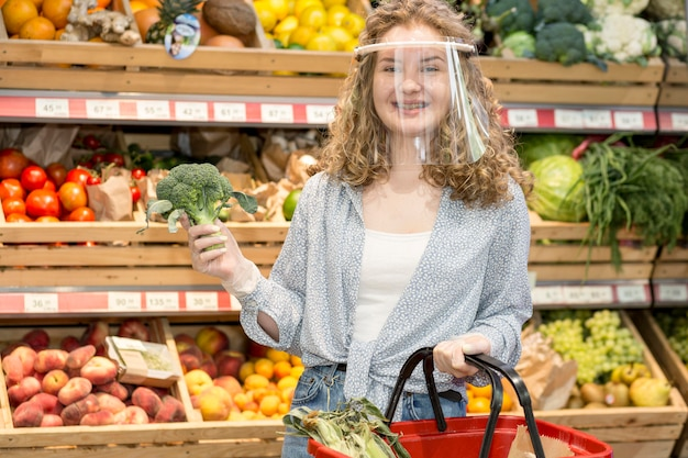 Woman with mask at market