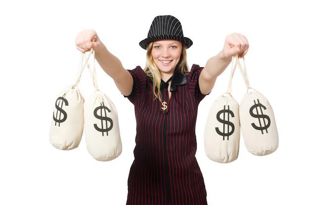 Woman with money sacks on white