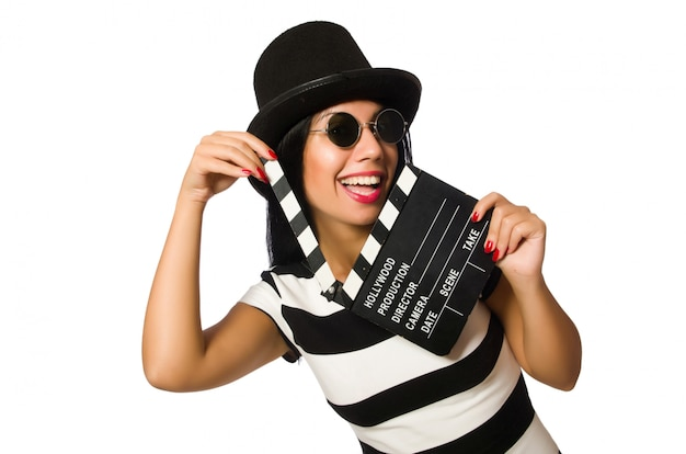 Woman with movie clapper on white