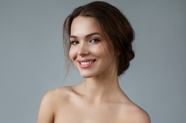 Woman with natural makeup and hairstyle