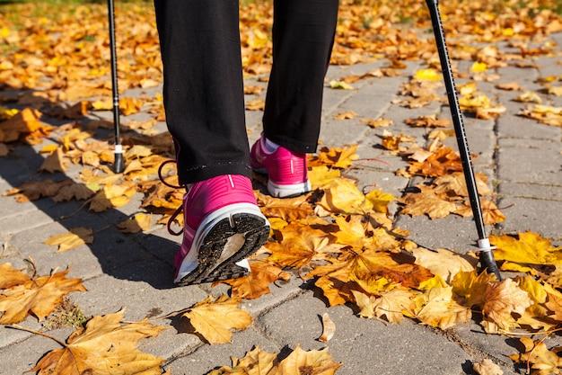 公園のノルディックウォーキングポールを持つ女性
