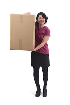 Woman with package on white