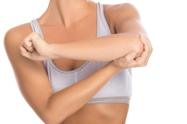Woman with pain in her elbow