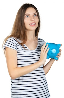 Woman with a piggy bank.