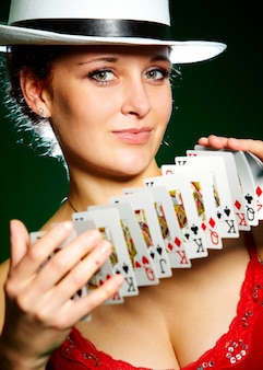 Woman with playing cards