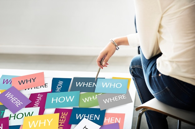 Woman with question notes: why, who, where, how, why