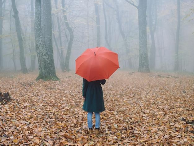 빨간 우산 코트를 가진 여자가 숲 안개 자연