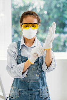 Woman with safety protection equipment