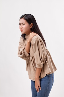 Woman with shoulder or neck pain, stiffness, injury