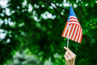 Woman with small usa flag