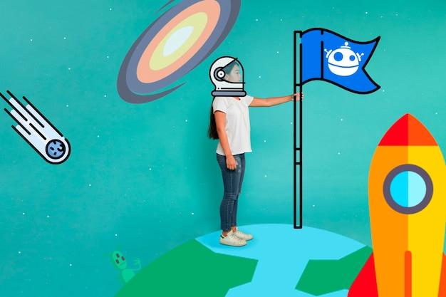 宇宙服のヘルメットと地球上のフラグを持つ女性