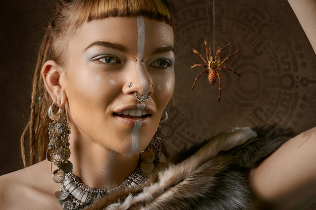 Woman with spider