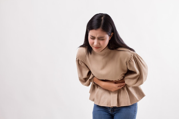 Woman with stomach ache, menstrual period cramp, abdominal pain, food poisoning