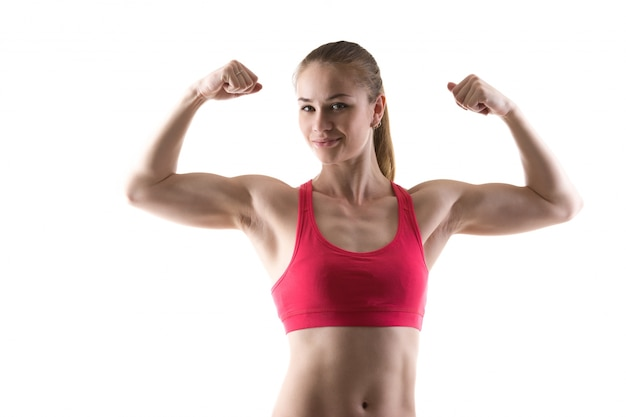 Woman with strong arms