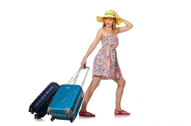 Woman with suitcase isolated