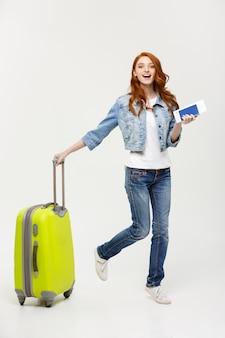 女、旅行、準備、旅行、準備