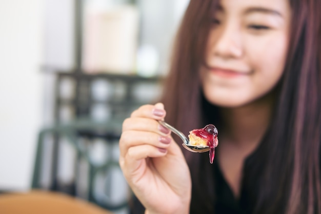 Woman with sweet dessert