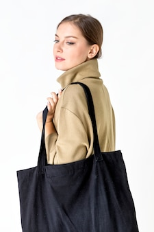 Woman with a tote bag