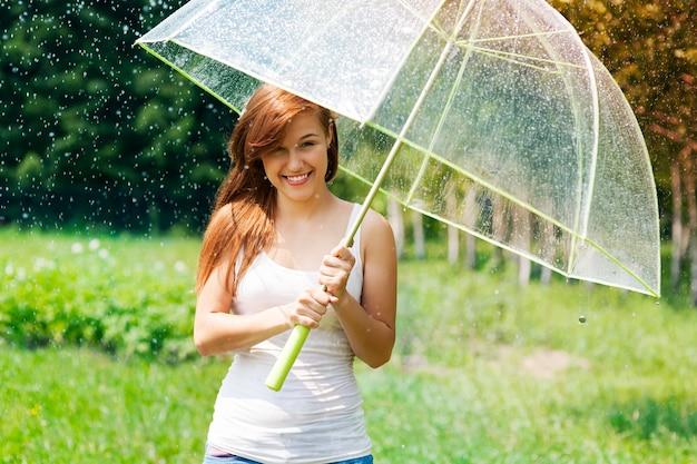 Женщина с зонтиком под дождем
