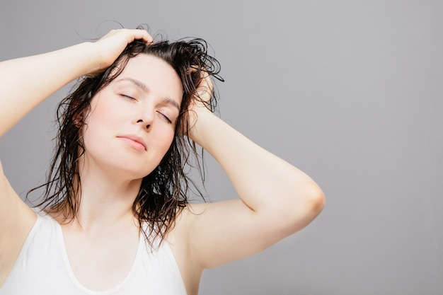 Woman with wet hair after a shower