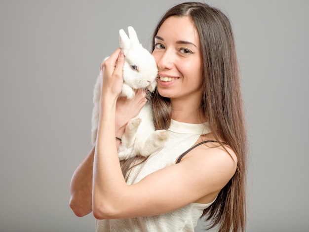 Woman with white rabbit