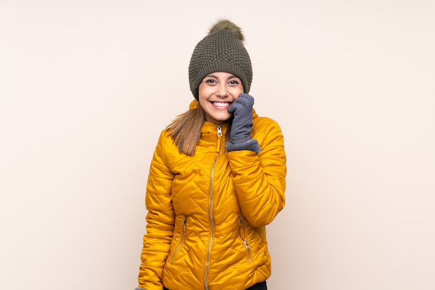Woman with winter hat nervous and scared