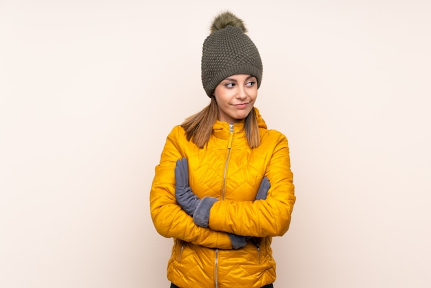 Woman with winter hat thinking an idea
