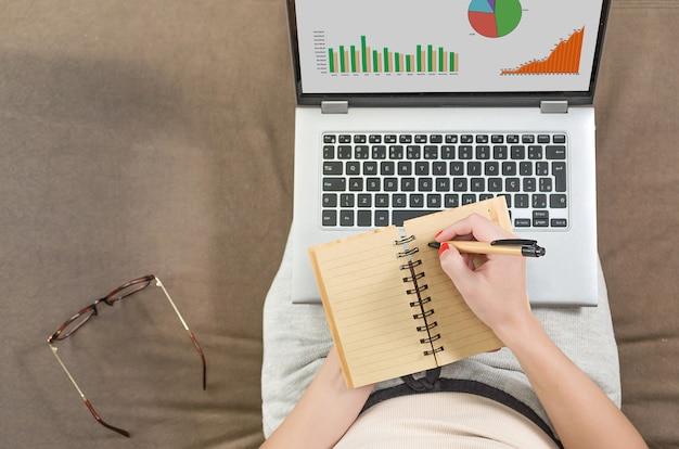 컴퓨터, 소파, 노트북, 그래프 및 테이블에 집에서 일하는 여자. 메모장에 쓰기.