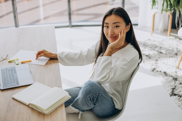 Woman working on computer at the desk from home
