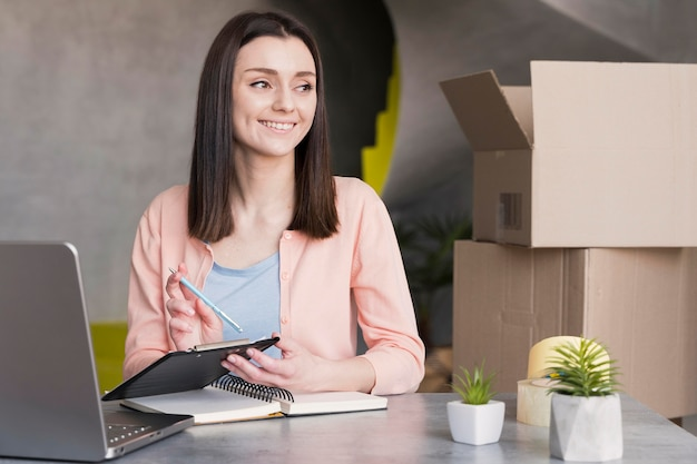 Woman working in delivery from home